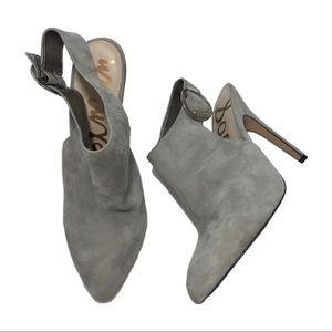 Sam Edelman grey suede heeled booties